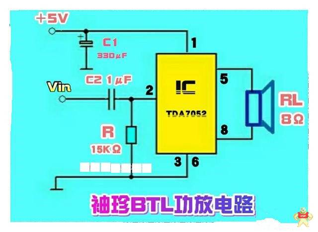 tda7052btl功放ic制作的迷你有源音箱电路
