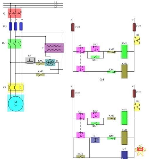 了解一下时间继电器控制电动机能耗制动线路图
