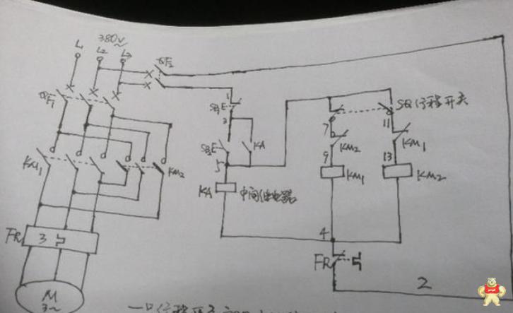 行程开关实现自动往返的控制电路