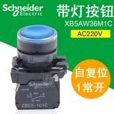 施耐德带灯按钮开关220V XB5-AW36M1C 1常开22mm自复位蓝色按钮