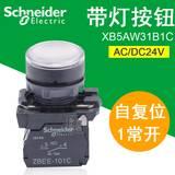 施耐德带灯按钮开关 24V 22mm XB5AW31B1C 白色 自复位 1NO
