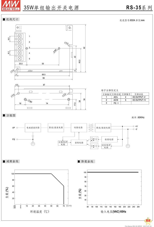 台湾明纬RS-35-5明纬电源35W/5V/7A高效单组输出明纬开关电源 明纬电源,开关电源35W,台湾明纬,单组输出电源,明纬开关电源5V