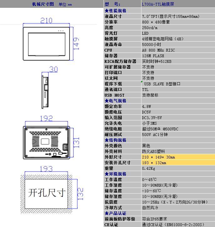 中达优控YKHMI触摸屏 7寸 L700A 真彩超薄 特价批发 质保2年 三菱PLC,文本显示器,触摸屏PLC一体机,工控板式PLC,文本一体机