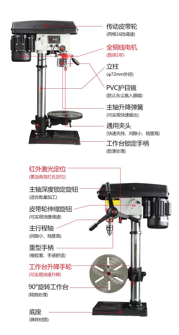 上海福赛台钻电钻工业金属钻孔机大功率多功能高精度钻床小型机床 FS-L4116