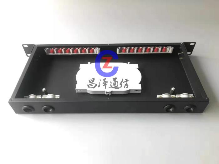12口挂墙式机架式光纤终端盒  1U终端盒 12口通用口机架箱图片 光缆配线架,熔接盒,光纤尾纤盒,加厚终端盒,机架式光纤盒
